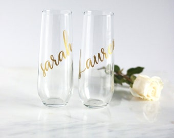 Personalized champagne flutes, personalized champagne glasses, bridesmaid flutes, bridesmaid glasses, personalized flute, bachelorette flute