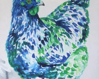 Hen Painting | Chook Art by Aidan Weichard | Original Painting on Canvas | Abstract Animal Art |  'Cecily' 90 x 75cm |