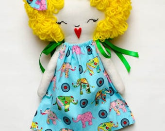 Handmade rag doll, rag doll, pillow case dress, elephants, blonde, cloth doll,  dress up doll, handmade, blue, yellow