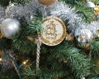 Custom Last Name Ornament