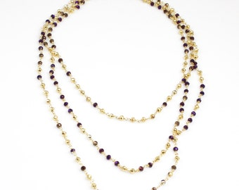 Extra Long Purple and Gold Wrap Necklace