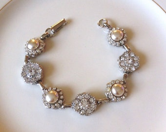 Champagne pearl and pavé crystal repurposed vintage button bracelet, 1920s wedding, vintage, bridal, rustic, jewelry, country, Art Deco