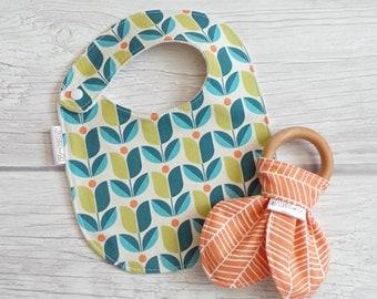 Mod Baby Bib and Teether Gift Set / Drool Bib / Wooden Bunny Ear Crinkle Teether / Teething Bib / Teething Toy / Modern Baby / Herringbone