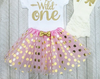 Wild one Wild one first birthday Pink and gold first birthday outfit One year old outfit Girl first birthday outfit First birthday outfit