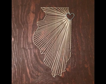 Illinois String Art | Made to Order, Custom String Art