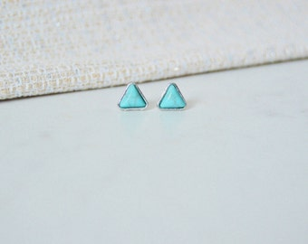 Tiny Turqouise & Silver Stud Earrings, Sterling Silver