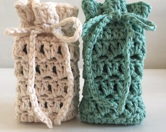 Crochet Soap Savers Cotton Soap Sack Set of 2  Ready to ship