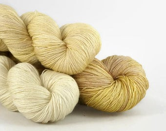 Hand dyed lace yarn gradient set - semi solid superwash merino silk - Golden