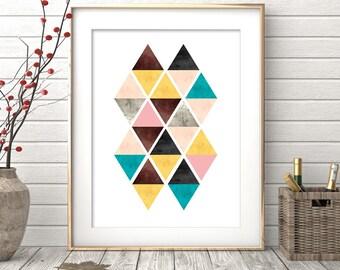 Geometric Print, Minimalist Wall Art, Modern Art, Minimalist Art, Printable Art, Triangles Art, Geometric Art, Printable, Digital Prints
