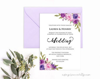 Lavender Invitation Template, Purple Lilac Watercolor Flowers, Printable Wedding Invitation Template, Vistaprint, DIY PDF Instant Download