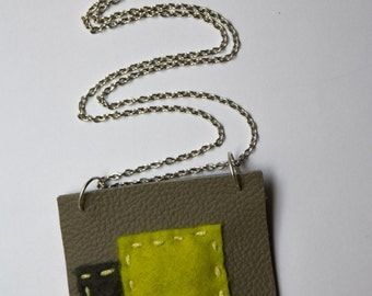 Grey and yellow square pendant necklace