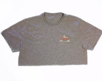Vintage Thin Coors Light Beer Crop Top T Shirt