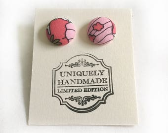 Fabric Earrings - Stud Earrings - Bridesmaids Gift - Flower Earrings - Covered Button Earrings