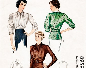 1930s 30s pattern misses women's  art deco evening blouse ruched bodice gathered sleeves Bust 32 repro vintage sewing