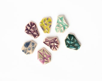 CUTE GEOMETRIC ceramic STUDS, Geometric studs, Cute pink earrings, Christmas gift for her, Gift for friend, Uk sellers only, Perfect gift