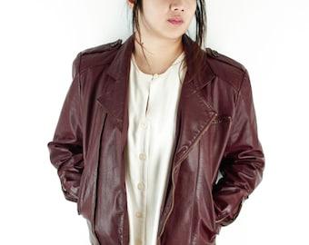 Vintage Verducci Maroon Leather Jacket 80s