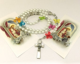Personalized First Communion Rosary. First Communion White Rosary. Catholic Rosary for First Communion. Catholic Gift. Religious Gift. #R75