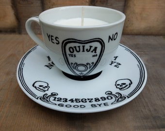 Hand painted, Hand made, Tea Cup Candle. Gothic decor. Ouija Board design