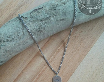 Custom long pendant with silver plated engraved and printed name date and by hand. Motivational necklace.
