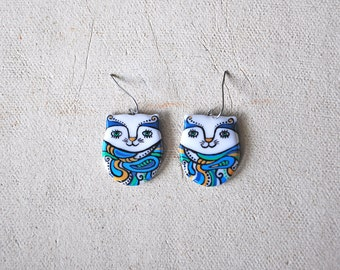 Cats earrings, Magical Cats earrings, Colorful earrings, Cat jewelry, Handpainted jewelry, Two-sided earrings with pattern FREE SHIPPING