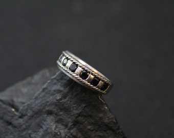 Sterling Silver and Synthetic Sapphire Band Ring with Rope Border