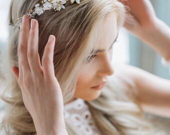 Bridal Crown, Wedding Diadem, Bohemian Hairpiece, Crystal Bridal Tiara, Wedding Headband, Pearl Headband, Wedding Tiara, Wedding Headpiece