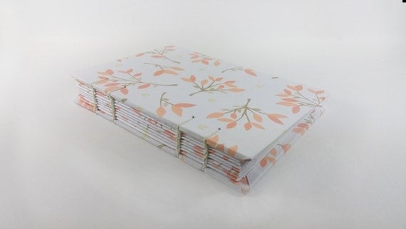 Journal • Blank books • Handmade notebook • Coptic stitch • Branches with pink leaves pattern