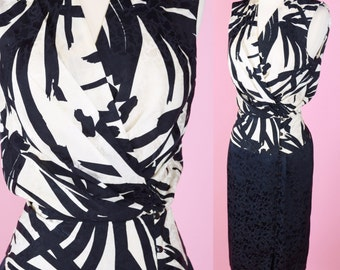 Vintage, Black & White, Silk, Wrap Dress // 1980s, Peplum, 1990s, Cocktail Party, Nordstrom, Womens Size Small