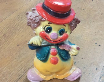 Plastic Piggy/Coin Bank ~ Clown Playing the Violin