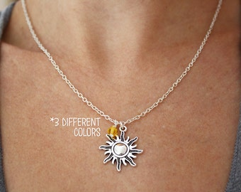 Tangled Inspired Sun Necklace - Gold - Silver - Bronze Rapunzel Cosplay Necklace