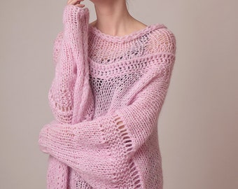 Oversized knit sweater dress, baby pink, soft alpaca totally itch-free, airy long pullover, comfy sweater, puff sleeves, slouchy cowl neck