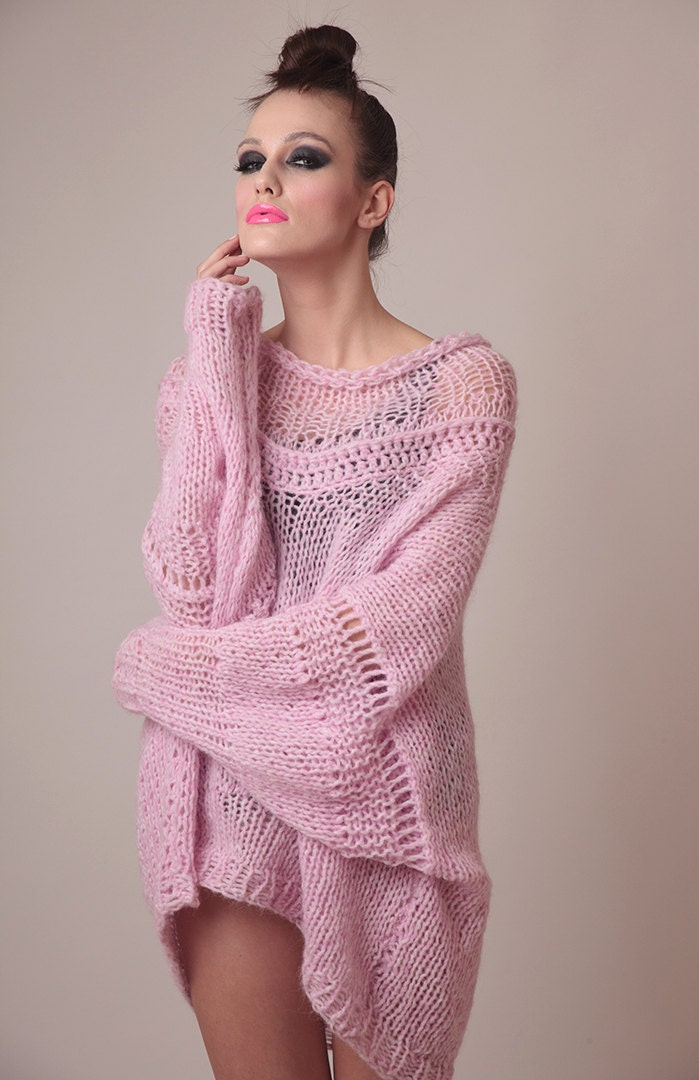 Oversized Knit Sweater Dress Baby Pink Soft Alpaca Totally