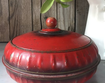 Vintage, Metal and Chippy!  Red, Excel, Sewing Canister with insert -3 pieces