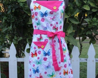Butterfly Apron, Butterflies and Hot Pink Full Apron,  Women's Apron, Vintage Style Apron, Retro Apron, GladstoneCottage