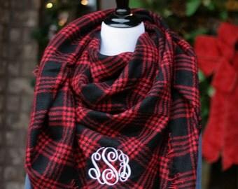 Monogrammed Blanket Scarf | Red and Black Plaid Blanket Scarf | Monogrammed Plaid Blanket Scarf