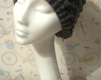 Slouchy beanie hat grey hat soft warm knitted hat