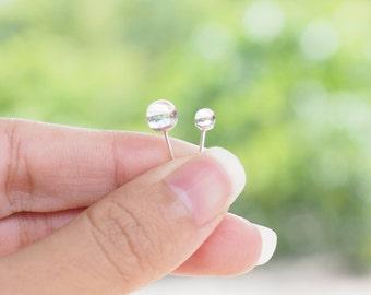 4 mm or 6 mm : Crystal Ball Stud Earrings, 925 Sterling Silver, Ball stud, cartilage earrings, Bridesmaid gift  - SB85/86