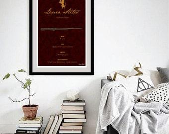 Custom Pottermore Wand Art Print - minimalist harry potter hogwarts wand stats wall art art decor