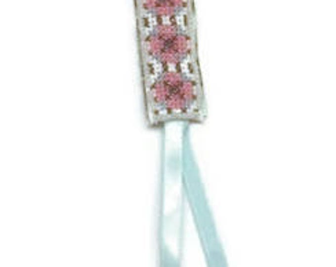 Cross-stich and beads floral bookmark