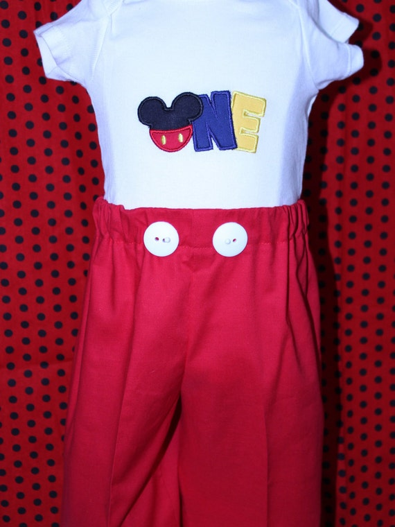 DollyWolly Quilting And SewingLLC 0 Mickey Mouse First Birthday Outfit1st ShirtBoy
