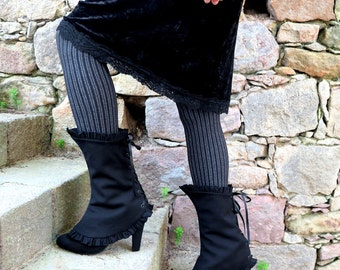 Black victorian spats with pleated trim, womens steampunk spats, reversible lace-up spats edwardian style, laceup shoecover gothic