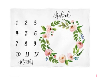 Monthly Baby Blanket Personalize Baby Blanket Baby Milestone Blanket Watch Me Grow Blanket, Floral Wreath Blanket, Monogramed Baby Blanket