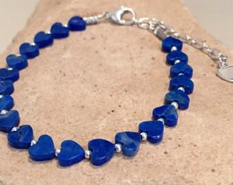 Blue bracelet, lapis bracelet, heart bead bracelet, sterling silver bracelet, Hill Tribe silver bracelet, adjustable bracelet, gift for her