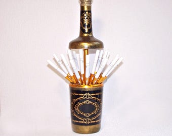Hand Decorated Table Top Cigarette Holder. Pop-Up Cigarette Dispenser in a Form of a Bottle. Vintage Soviet Cigarette Box. Gift for Him.