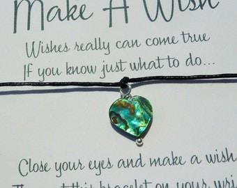 Wish Bracelet - Abalone Heart / Paua Shell Heart / Heart Bracelet / Heart Charm / Charm Bracelet / Meditation Gift / Rainbow / Wish Knots