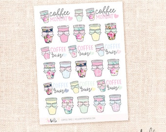 Coffee time sticker sampler - 24 cute, hand-drawn planner stickers