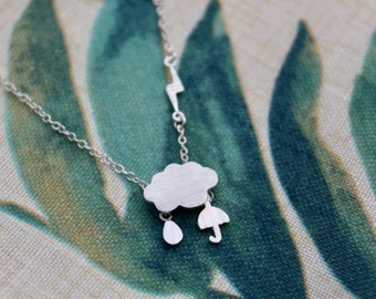Sterling Silver Cloud Necklace with Rain Drop, Umbrella, & Lightning Bolt || Textured Front || Rainy Days || Modern and Cute