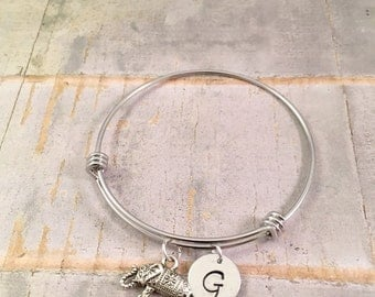 Personalized Elephant bracelet, Good Luck Bracelet, Lucky Charm bracelet, Graduation Bracelet, adjustable bangle