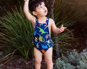 Boys Dino Baby Romper, Ready to Ship, First Birthday, Cake Smash Outfit, Toddler Romper, Baby Rompers, Summer Romper, Newborn Romper
