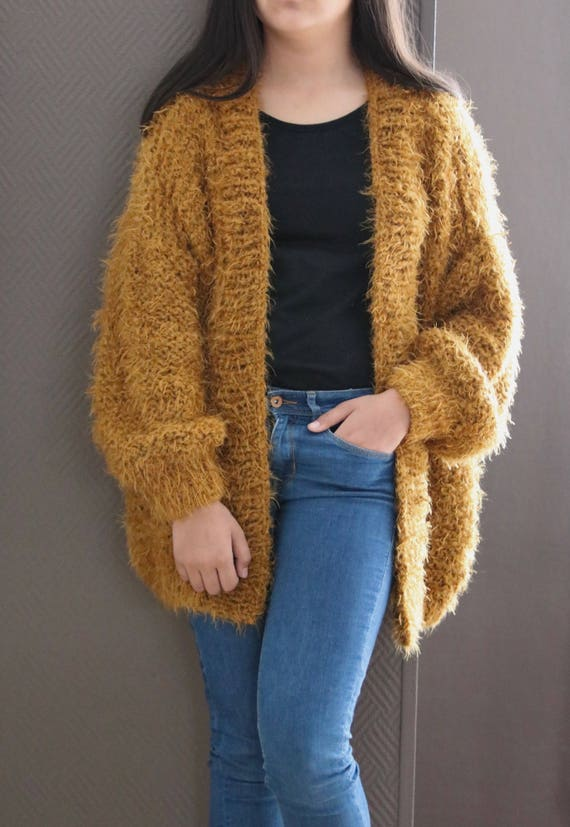 Oversized Sweater Chunky Knit Sweater Ocher Sweater Fluffy